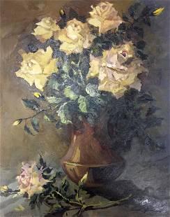 Oil painting Yellow roses Vol'shteyn Moisey L'vovich