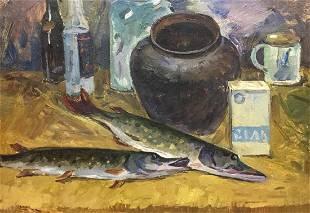 Oil painting Still life with fish Katz Adam Zakharovich