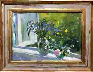 Oil painting Flowers on the window Poplavsky Mikhail