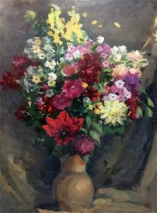 Oil painting Phlox and dahlia Andrey Ivanovich