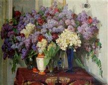 Oil painting Flowers Samusev Fedor Afanasevich