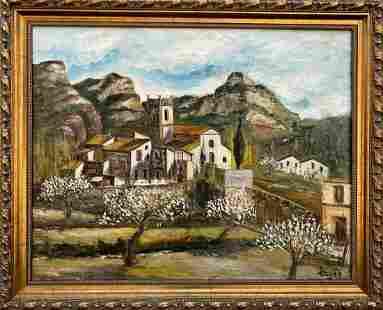Oil painting Urban landscape European unknown artist
