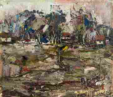 Abstract oil painting On the outskirts of the village