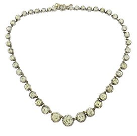 Victorian Diamond Riviere NECKLACE French Silver Rose