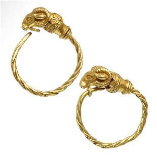 Greek Gold Ram-Head Earrings