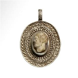 Roman Silver Pendant with Agate Cameo, Head of a Man,