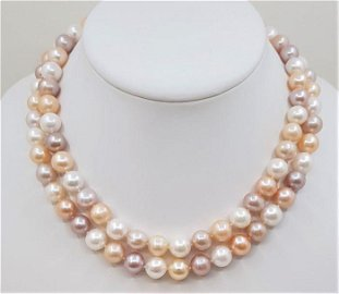 925 Silver - 10x11mm Multi Color Pearls - Long Necklace