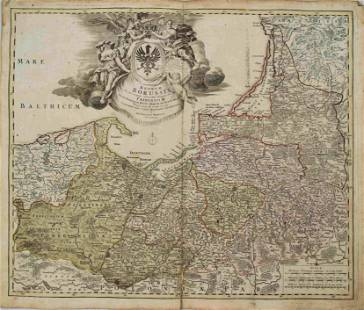 1701 Homann Map of Northern Poland and Lithuania in