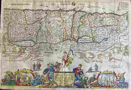 Holy land by Stoopendaal, Bible map. 1738-1740,