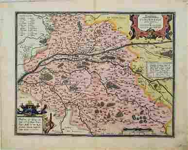 1603 Ortelius Map of the Loire Vallay -- Touraine.
