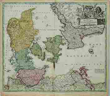 1720 c. Homann Map of Denmark -- Regni Daniae, in quo