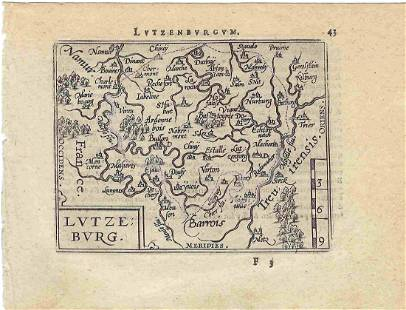 1602 Ortelius Map of Luxembourg and Surroundings --