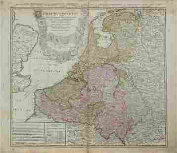 1748 Homann Map of the Low Countries -- Belgii Universi