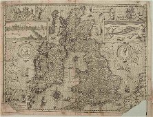 1611 Speed Map of the British Isles -- The Kingdome of