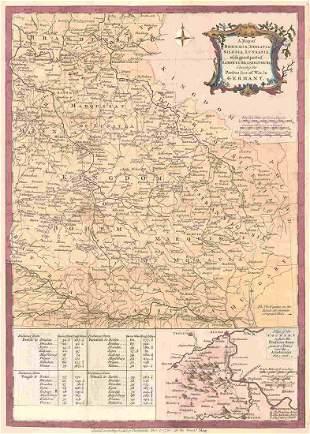 Map of Bohemia, Moravia, Silesia, Lussatia, With Great