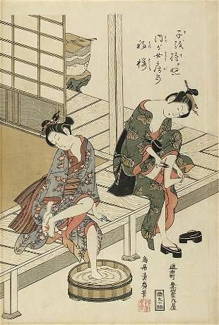 Torii Kiyohiro: Two girls on a verandah