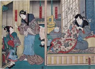 Kunisada: Interior scene, diptych