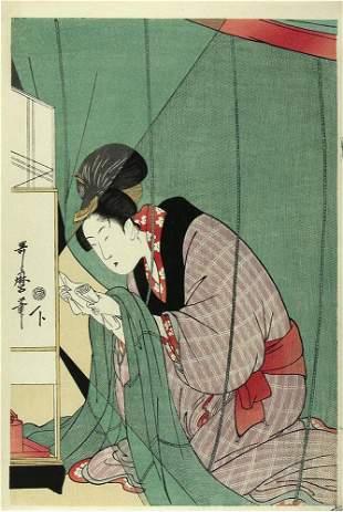 UTAMARO, Kitagawa: Reading a letter under the mosquito