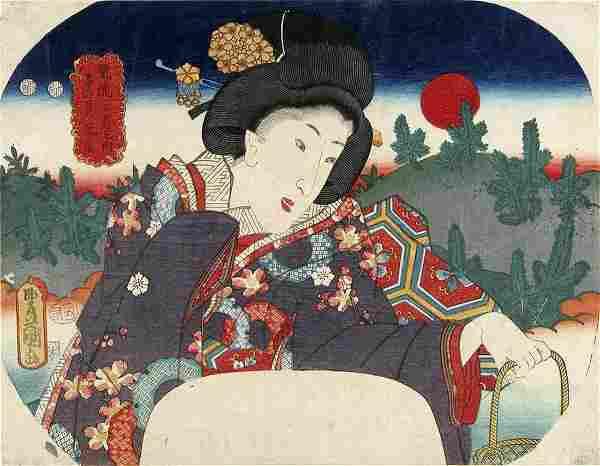 Utagawa KUNISADA (1786-1865): Beauty holding a basket