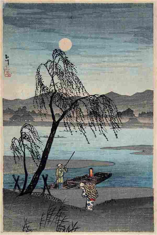 Takahashi HIROAKI (Shotei): Autumn Moon over the Tama