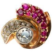 Diamond Ruby Ring 14K Rose Gold Spiral Cocktail