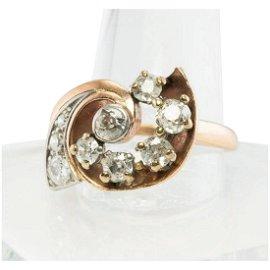 Diamond Ring 14K Rose Gold Spiral 1.05 TDW Vintage