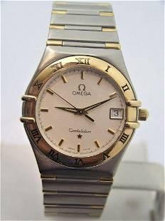 Mens S/Steel & 18k OMEGA CONSTELLATION Quatz Watch Half