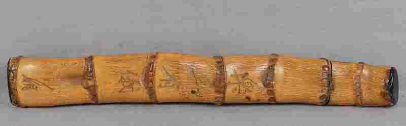 19c Japanese scholar bamboo BRUSH HOLDER inscribed