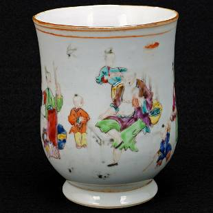 18th C Chinese Polychrome Porcelain Export Tankard