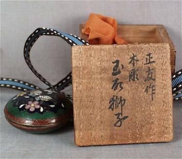 19c Japanese CLOISONNE tea ceremony KOGO butterfly