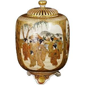 Japanese Meiji Satsuma Censer Warriors, Beauties