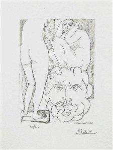 Crouching Model Nude & Sculptured Head (Vollard Suite)
