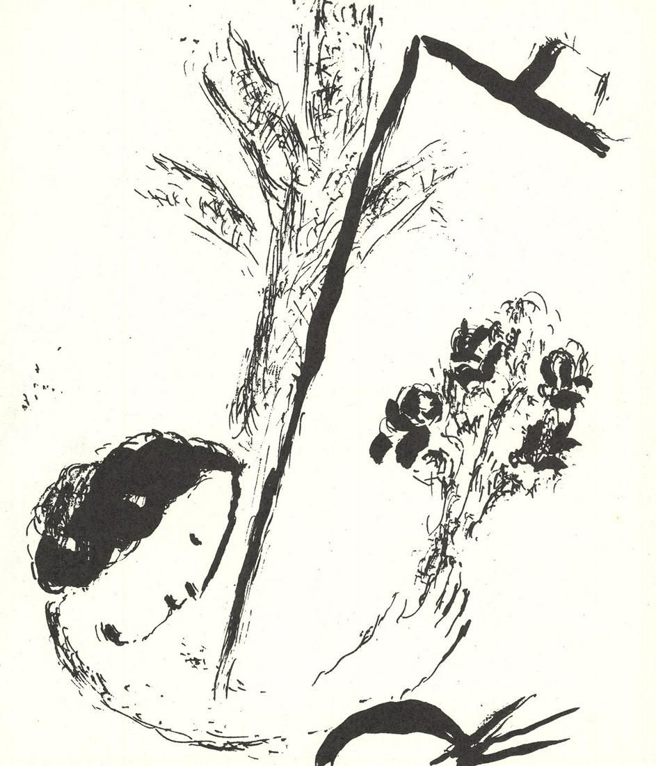 """Marc Chagall - Bouquet with Hand - 1957 Lithograph 9"""" x"""