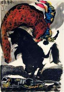 "Pablo Picasso - Bullfight - 1959 Lithograph 14.75"" x"