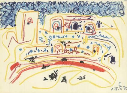 "Pablo Picasso - Bullring I - 1959 Lithograph 11.5"" x"