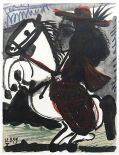 "Pablo Picasso - Cavalier - 1959 Lithograph 14.5"" x"