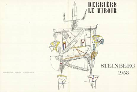 """Saul Steinberg - DLM 53-54 Cover - 1953 Lithograph 15"""""""