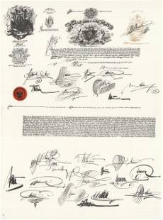 """Saul Steinberg - DLM 53-54 Page 2 - 1953 Lithograph 15"""""""