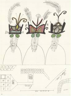 Saul Steinberg - DLM 53-54 Page 20 - 1953 Lithograph