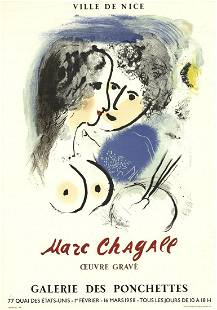 """Marc Chagall - Engraved Work - 1958 Lithograph 28"""" x"""