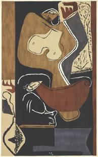 Le Corbusier - Femme a la Main Levee - 1954 Lithograph