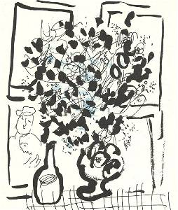 Marc Chagall - The Black and Blue Bouquet - 1957