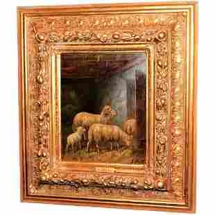 Sheep in a Barn by Johanna Grell