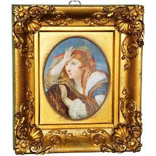19th Century Miniature Watercolor Portrait in the
