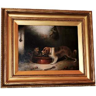 A Spaniel and Two Terriers in a Larder by Edward