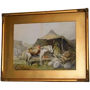 Late 19th Century Watercolor of an Arabian Desert