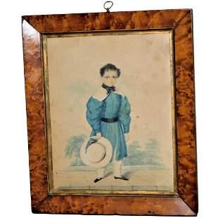 19th Century Georgian Watercolor Portrait of a Boy in a