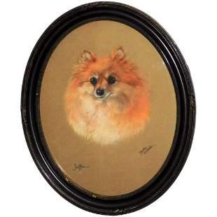 "Pastel Portrait of the Pomeranian Dog, ""Jaffa,"" by"