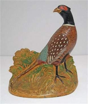 Antique Pheasant Bird Cast Iron Hubley Doorstop