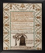 SAMPLER WORKED BY 10 YEAR OLD - WESTON, MA c.1805